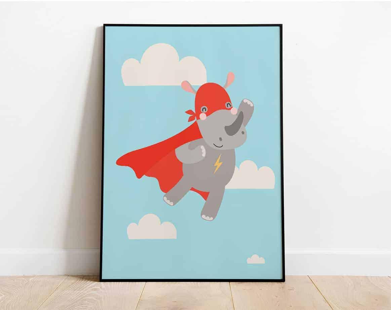 superhero rhino wallart